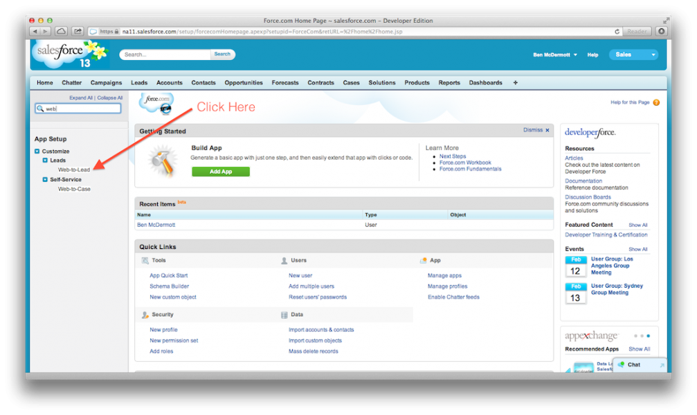 Access the Web-to-Lead page in Salesforce.